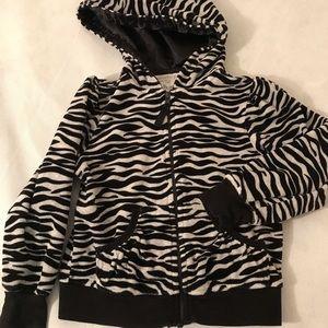 Zebra print zip up hoodie
